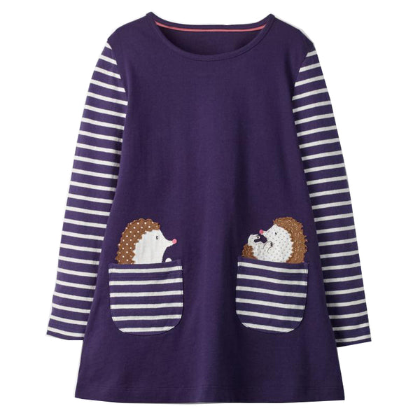 Bambinilooks-Bambini-Kidslooks-Kids-Girls-Dress-Long-Sleeve-Hedgehog