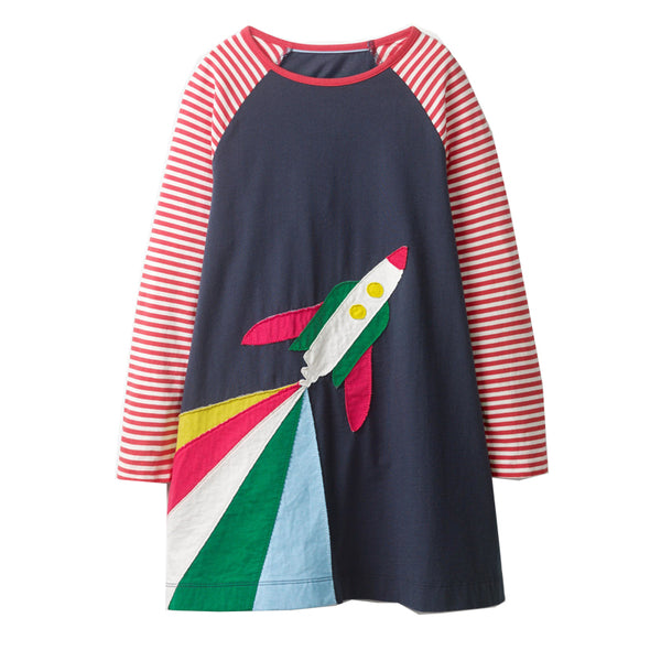 Bambinilooks-Bambini-Kidslooks-Kids-Girls-Dress-Long-Sleeve-Rocket