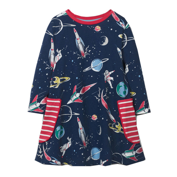 Bambinilooks-Bambini-Kidslooks-Kids-Girls-Dress-Long-Sleeve-Space