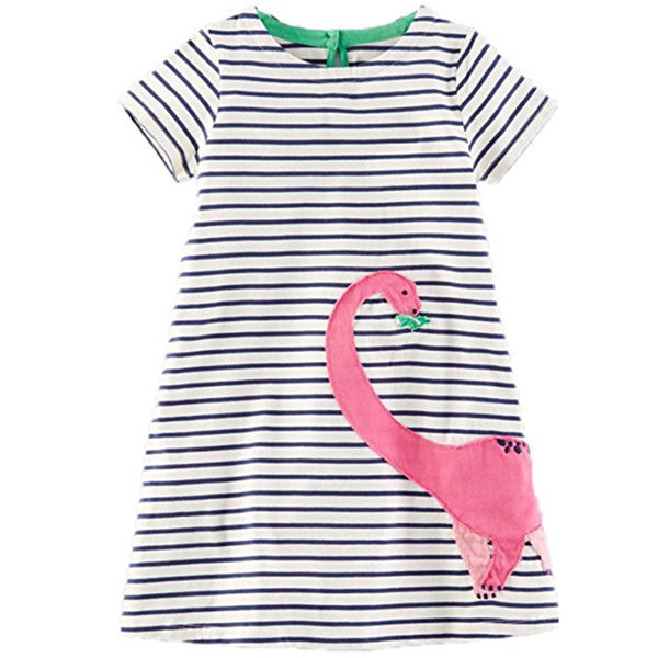 Bambinilooks-Bambini-Kidslooks-Kids-Girls-Dress-Short-Sleeve-Brachiosaurus