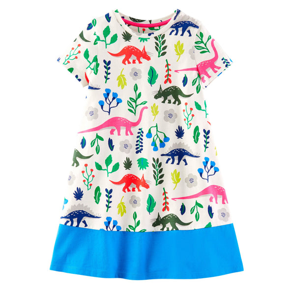 Bambinilooks-Bambini-Kidslooks-Kids-Girls-Dress-Short-Sleeve-Colourful-Dinosaurs
