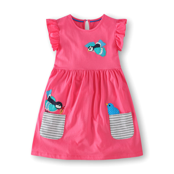 Bambinilooks-Bambini-Kidslooks-Kids-Girls-Dress-Short-Sleeve-Cute-Birds