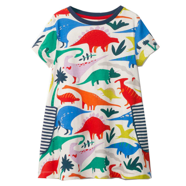 Bambinilooks-Bambini-Kidslooks-Kids-Girls-Dress-Short-Sleeve-Dinosaurs