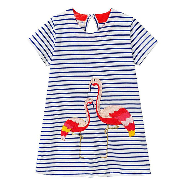 Bambinilooks-Bambini-Kidslooks-Kids-Girls-Dress-Short-Sleeve-Flamingos
