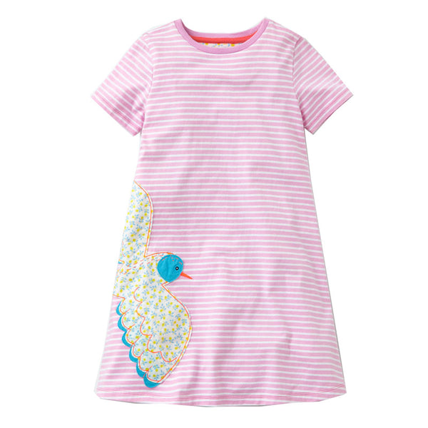 Bambinilooks-Bambini-Kidslooks-Kids-Girls-Dress-Short-Sleeve-Lonely-Bird