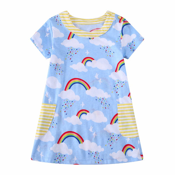 Bambinilooks-Bambini-Kidslooks-Kids-Girls-Dress-Short-Sleeve-Rainbow-Rain