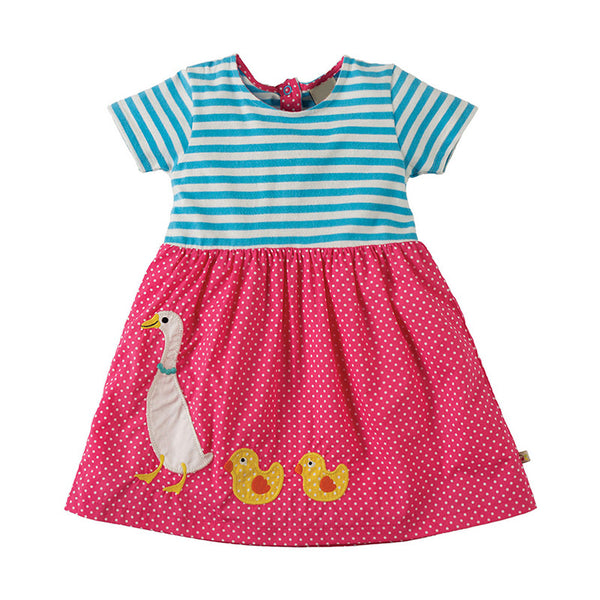 Bambinilooks-Bambini-Kidslooks-Kids-Girls-Dress-Short-Sleeve-Walking-Duck