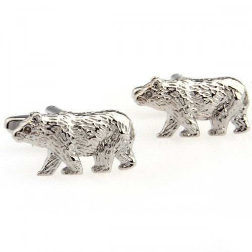 Bear-Polar-Grizzly-Animal-Silver-Modalooks-Cufflinks
