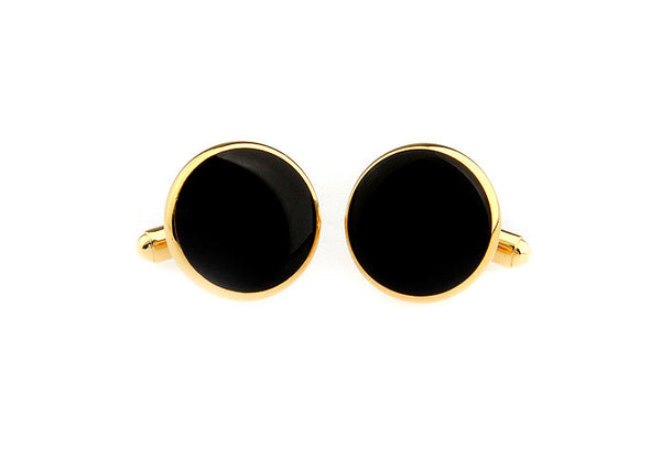 Modalooks-Formal-Classic-Gold-Black-Agate-Cufflink-Double-View