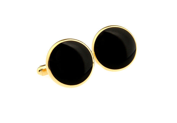 Modalooks-Formal-Classic-Gold-Black-Agate-Cufflink-Front-View