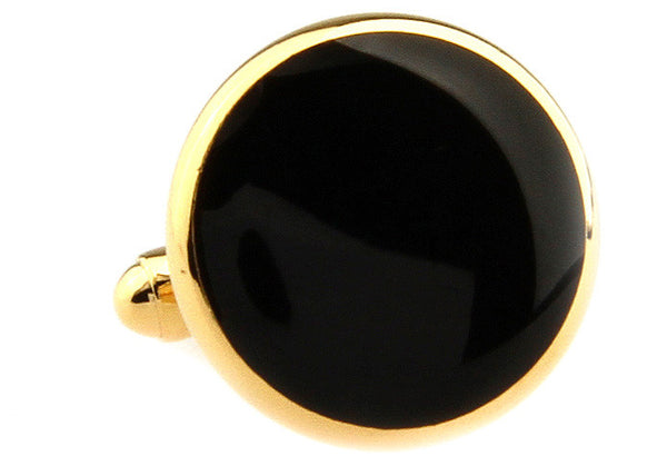 Modalooks-Formal-Classic-Gold-Black-Agate-Cufflink-Single-View