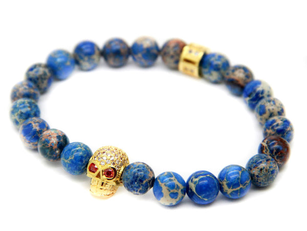 Modalooks-18K-Gold-Skull-CZ-Blue-Sediment-Beads-Bracelet-Side-View