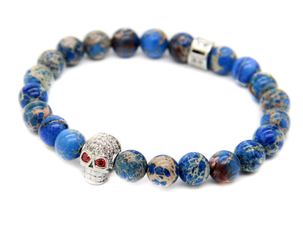 Modalooks-18K-White-Gold-Skull-CZ-Blue-Sediment-Beads-Bracelet-Side-View