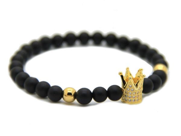 Modalooks-Bracelet-Female-Women-Black-Matte-Agate-Onyx-Gold-Crown-Side