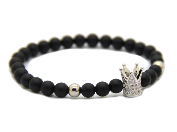 Modalooks-Bracelet-Female-Women-Black-Matte-Agate-Onyx-White-Gold-Crown-Side