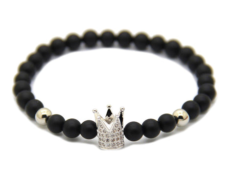 Modalooks-Bracelet-Female-Women-Black-Matte-Agate-Onyx-White-Gold-Crown