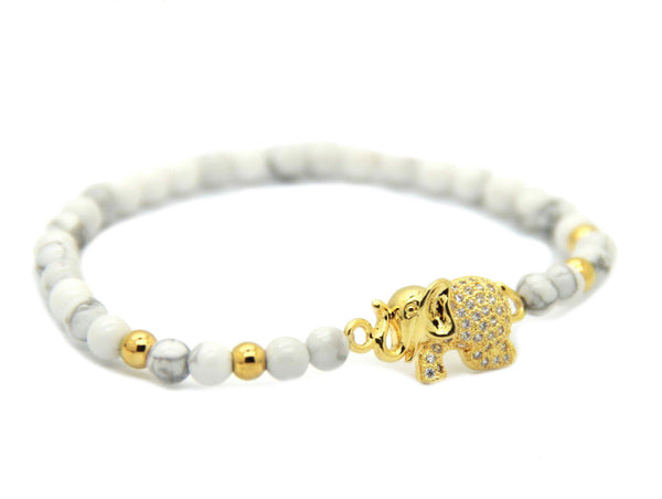 Modalooks-Bracelet-Gold-Howlite-6mm-Elephant-Side