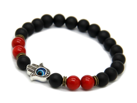 Modalooks-Bracelet-Men-Male-Hamsa-Hand-Black-Matte-Agate-Onyx-Red-Agate-Side