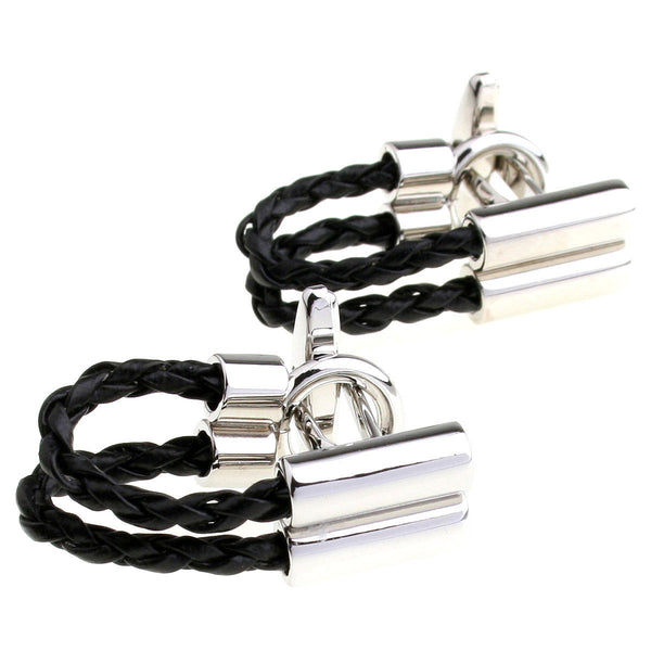 Modalooks-Casual-Black-Leather-Chain-Cufflink-Double
