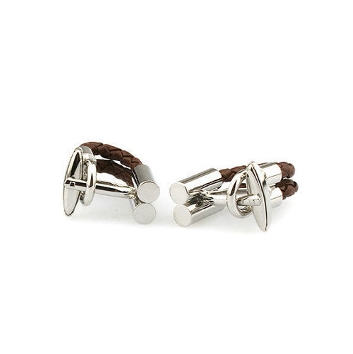 Modalooks-Casual-Brown-Leather-Chain-Cufflink-Back-View