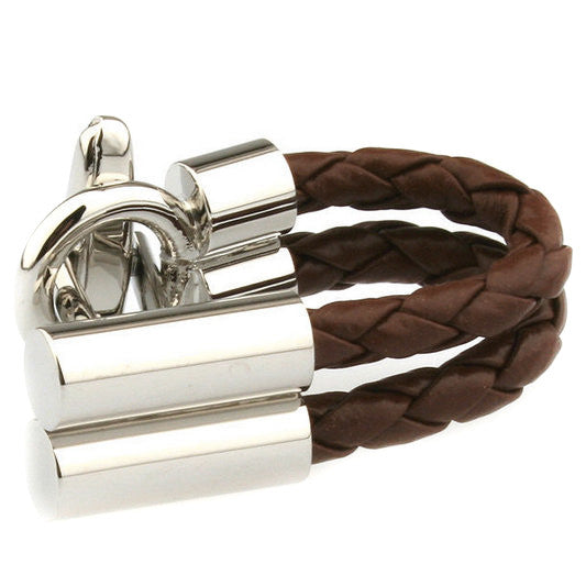 Modalooks-Casual-Brown-Leather-Chain-Cufflink-Close-Up