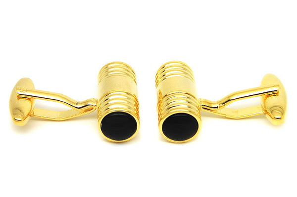 Modalooks-Formal-Cylinder-Gold-Black-Agate-Cufflink