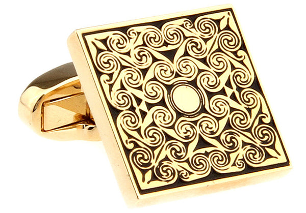 Modalooks-Formal-Square-Gold-Cufflink-Close-Up