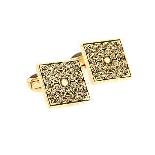 Modalooks-Formal-Square-Gold-Cufflink-Front