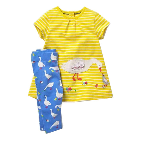 Modalooks-Kidslooks-Bambinilooks-Duck-Set-Pants-Dress-Cotton-Short-Sleeve