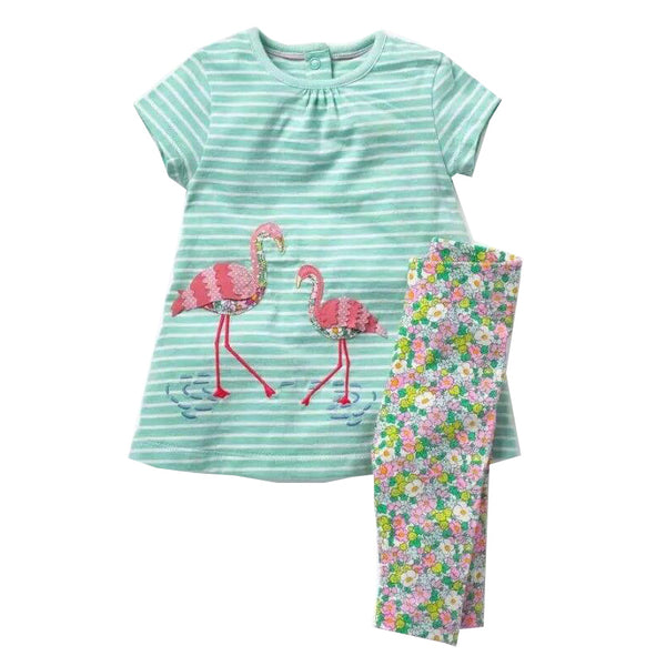 Modalooks-Kidslooks-Bambinilooks-Flamingo-Set-Pants-Dress-Cotton-Short-Sleeve