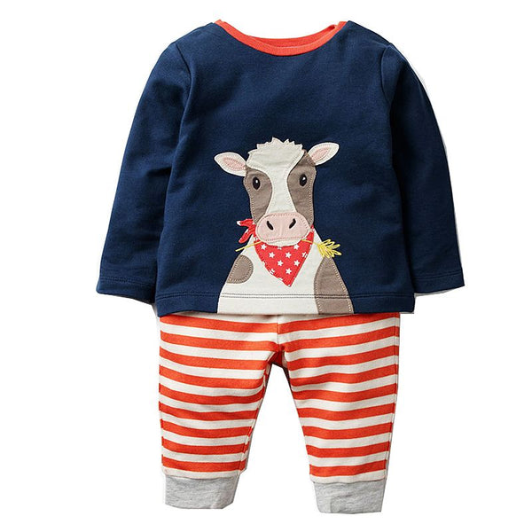 Modalooks-Kidslooks-Bambinilooks-Happy-Cow-Set-Pants-T-Shirt-Cotton-Long-Sleeve