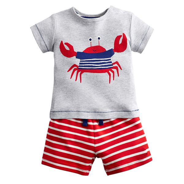 Modalooks-Kidslooks-Bambinilooks-Happy-Crab-Set-Shorts-T-Shirt-Cotton-Short-Sleeve