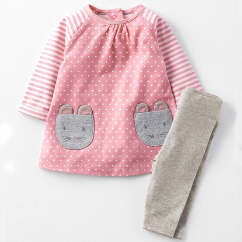 Modalooks-Kidslooks-Bambinilooks-Mice-Set-Pants-Dress-Cotton-Long-Sleeve