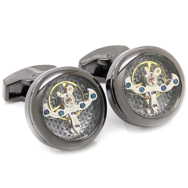 Modalooks-Tourbillon-Watch-Movement-Cufflink-Stainless-Ruthenium-Plated-Close-Up