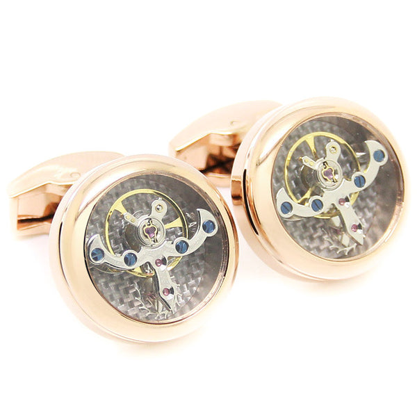 Modalooks-Tourbillon-Watch-Movement-Cufflink-Stainless-Steel-Rose-Gold-Plated-Close-Up