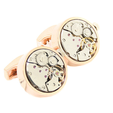 Modalooks-Tourbillon-Watch-Movement-Cufflink-Stainless-Steel-Rose-Gold-Plated