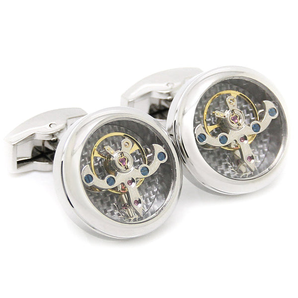 Modalooks-Tourbillon-Watch-Movement-Cufflink-Stainless-White-Gold-Plated-Close-Up