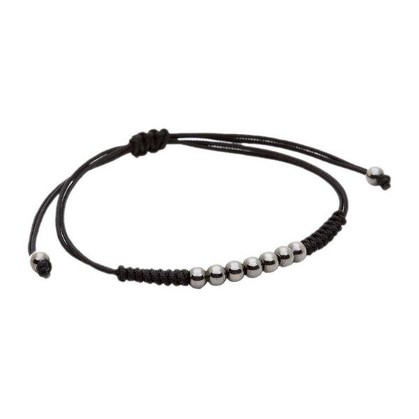 Modalooks-Ruthenium-Plated-4mm-7-Balls-Waxed-Cord-Macrame-Bracelet-Black-Side