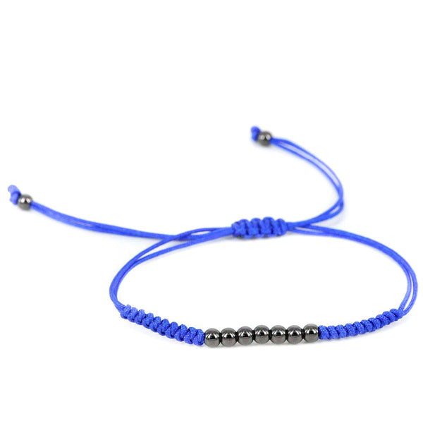Modalooks-Ruthenium-Plated-4mm-7-Balls-Waxed-Cord-Macrame-Bracelet-Blue