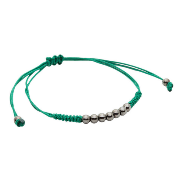 Modalooks-Ruthenium-Plated-4mm-7-Balls-Waxed-Cord-Macrame-Bracelet-Green-Side