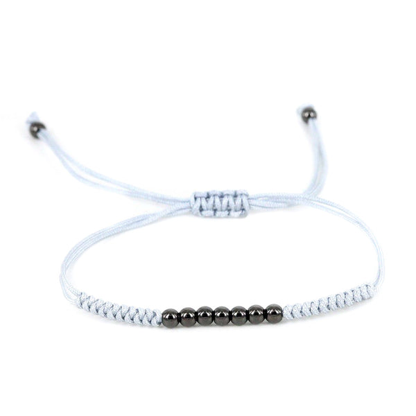 Modalooks-Ruthenium-Plated-4mm-7-Balls-Waxed-Cord-Macrame-Bracelet-Grey