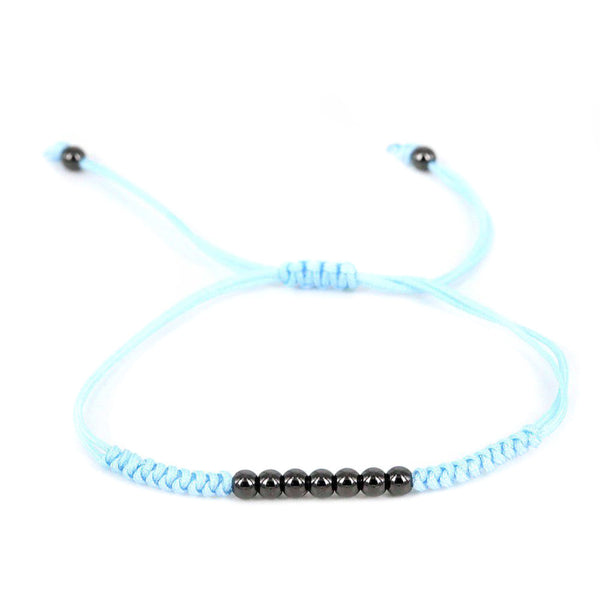 Modalooks-Ruthenium-Plated-4mm-7-Balls-Waxed-Cord-Macrame-Bracelet-Light-Blue