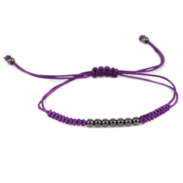 Modalooks-Ruthenium-Plated-4mm-7-Balls-Waxed-Cord-Macrame-Bracelet-Purple