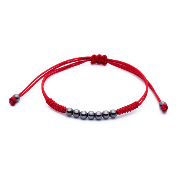 Modalooks-Ruthenium-Plated-4mm-7-Balls-Waxed-Cord-Macrame-Bracelet-Red-Front