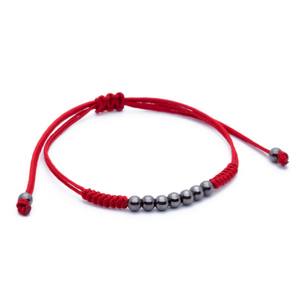 Modalooks-Ruthenium-Plated-4mm-7-Balls-Waxed-Cord-Macrame-Bracelet-Red-Side