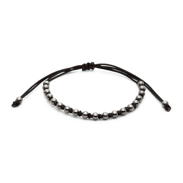 Modalooks-Ruthenium-Plated-4mm-Balls-Waxed-Cord-Macrame-Bracelet-Black