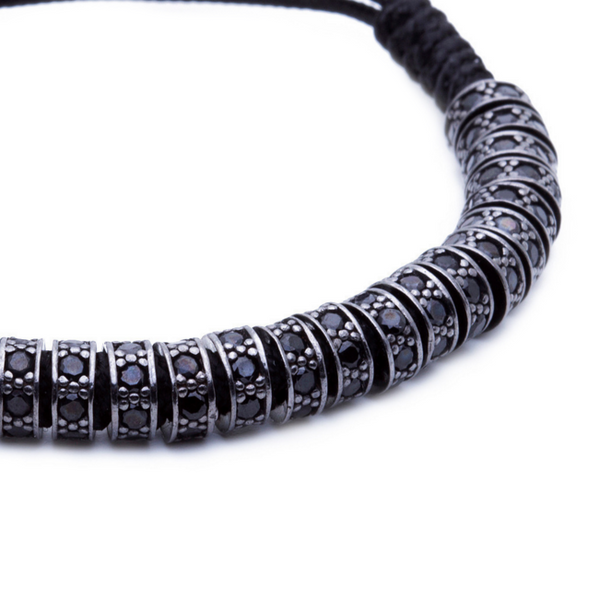 Modalooks Ruthenium Plated Black Diamonds Stoppers Macrame Bracelet - Black Close Up