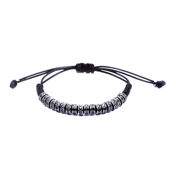 Modalooks Ruthenium Plated Black Diamonds Stoppers Macrame Bracelet - Black Fron