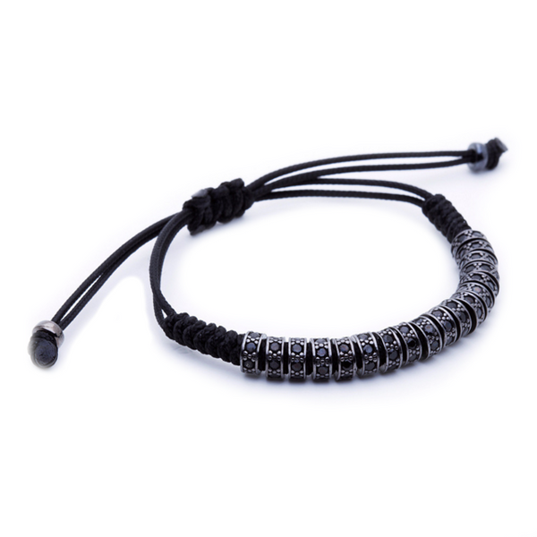 Modalooks Ruthenium Plated Black Diamonds Stoppers Macrame Bracelet - Black Side