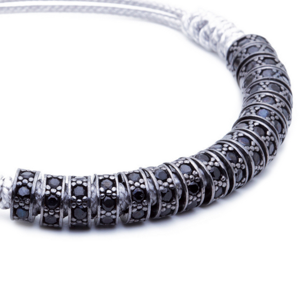 Modalooks Ruthenium Plated Black Diamonds Stoppers Macrame Bracelet - Grey Close Up